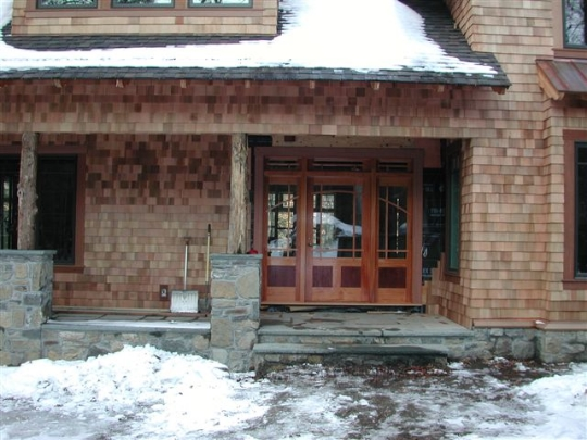 custom craftsman entrance w/transom and side lights
