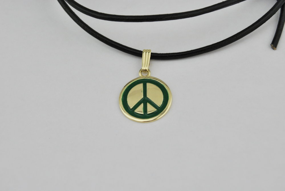 Amanda, you should be proud of your talent and the slow and easy way you do business. Somehow I lucked out finding you; my friend is back; everything from the pendant to the the leather tied necklace. I'm indebted to you. - Replacement for a lost sentimental 10k gold peace sign pendant with opaque green enamel and adjustable leather cord