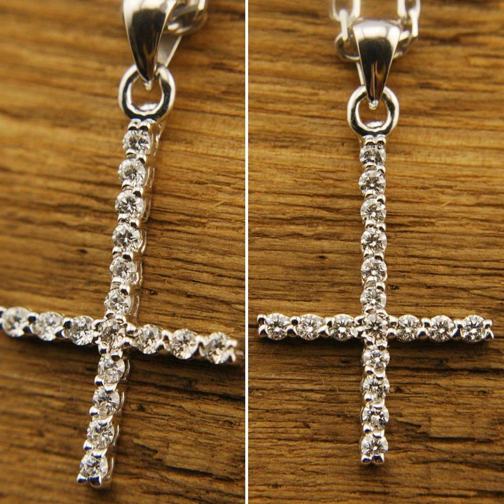 14k White Gold Cross Pendant with Diamonds