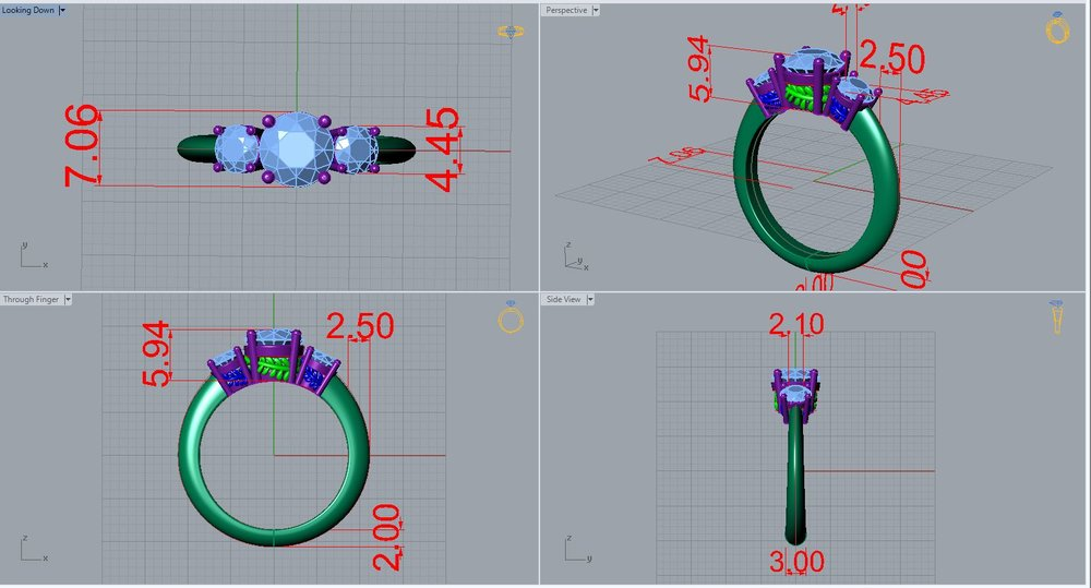 Professional, Precise CAD. - Our designer is GIA Certified in Jewelry Design CAD/CAMYou can be assured that your ring is made structurally and aesthetically sound.