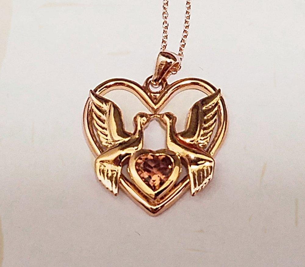 Custom 10k Rose Gold Dove Pendant