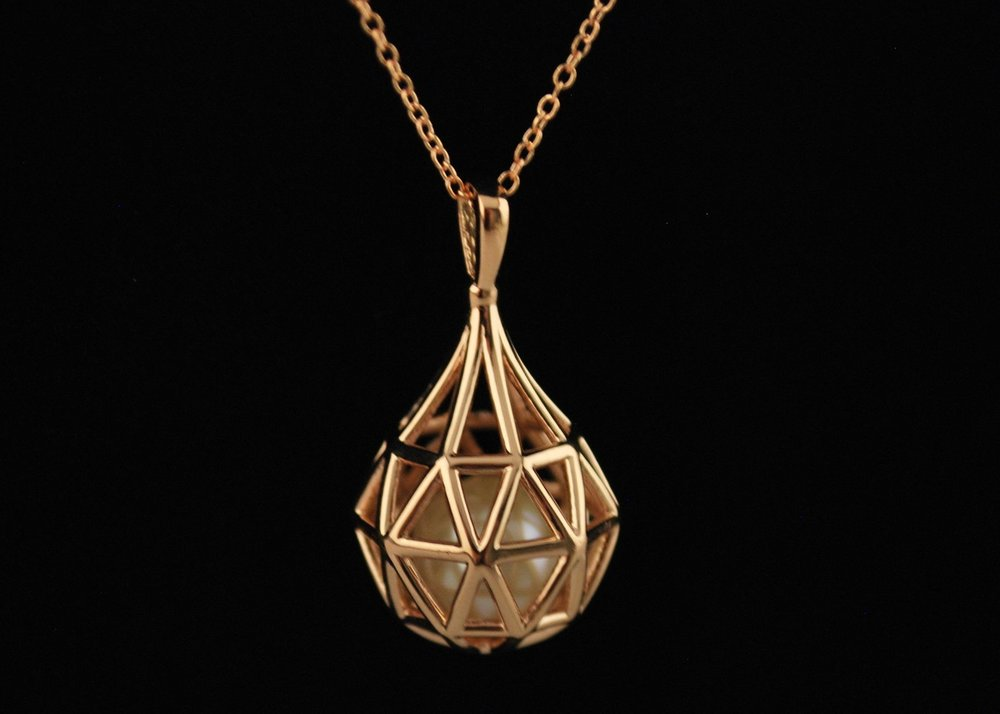 14k rose gold cage pendant