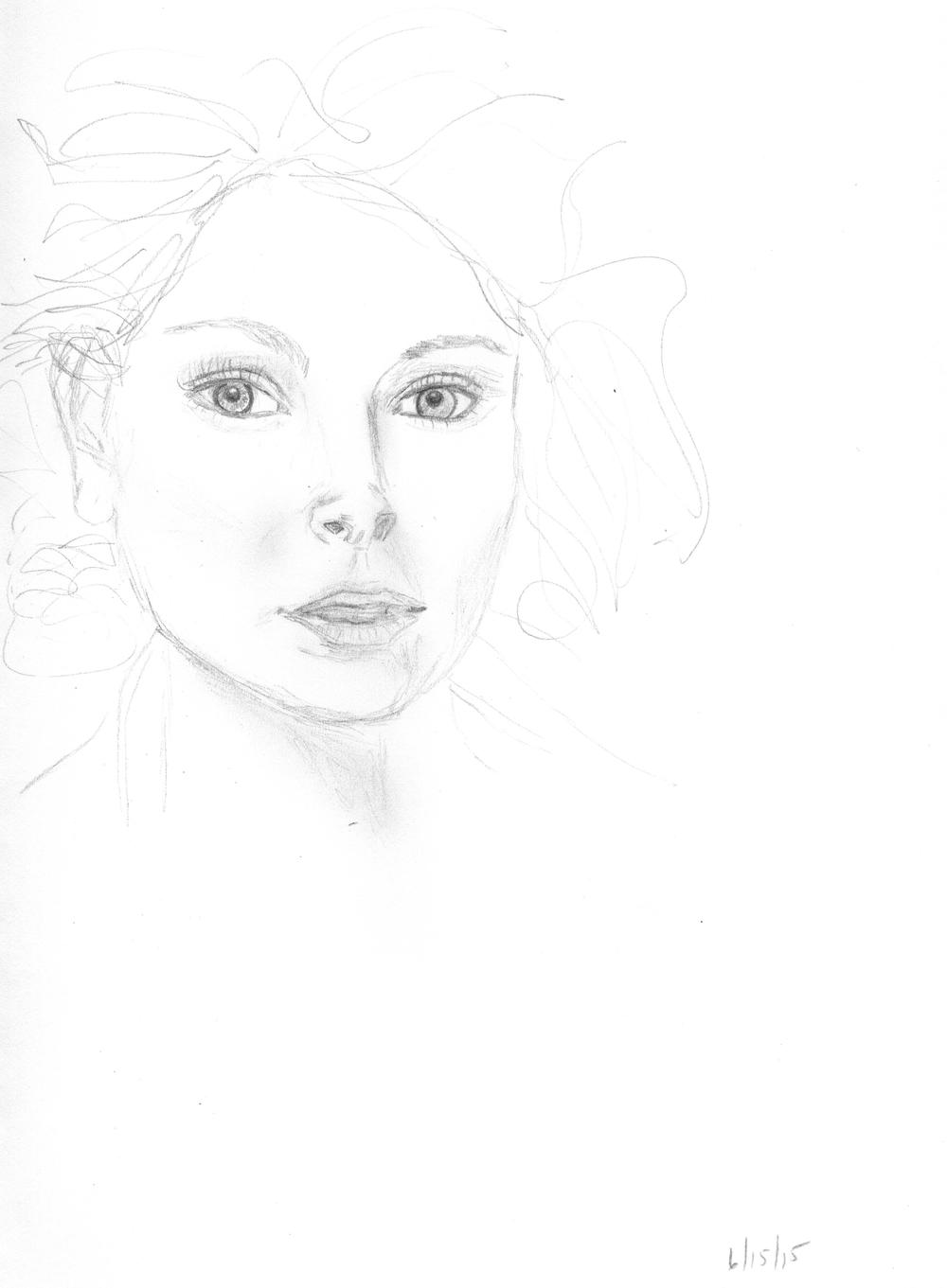 This drawing took an hour - and I still didn't get her pupils quite right.  However, I was drinking a glass of wine, so maybe that's how it looked to me.
