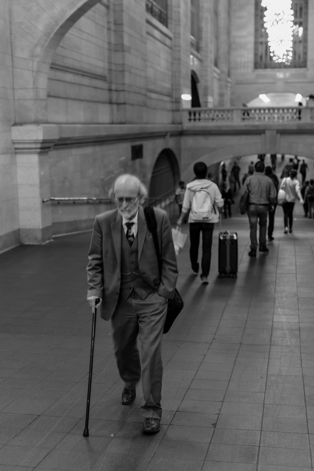 My camera settings weren't ready for the inside of Grand Central Station, but I love this old man too much not to use this photo.