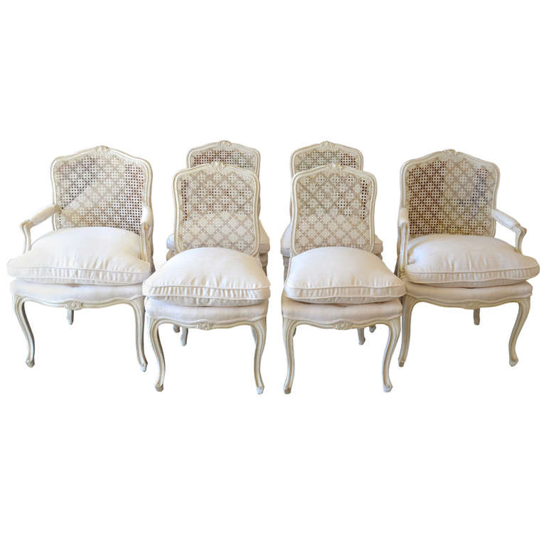 Maison Jansen  Dining Chairs with Silk Seats, Set of 6 $24,000
