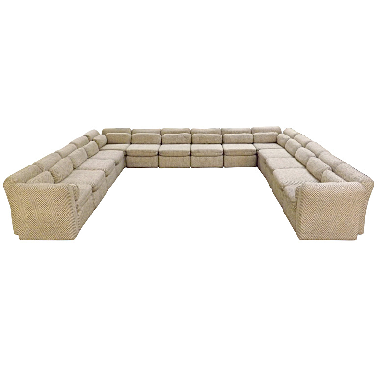 Arthur Elrod  Sectional Sofa in Herringbone Fabric $18,500