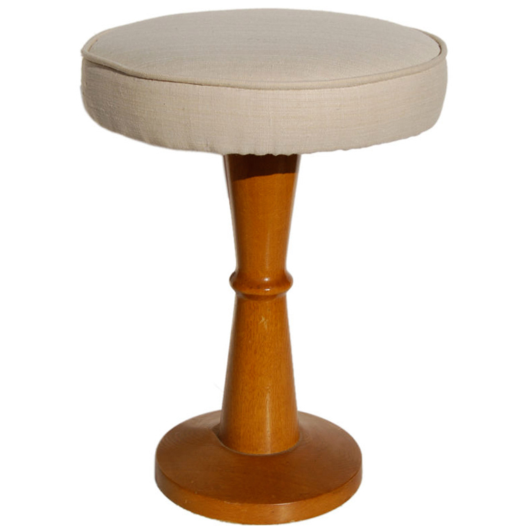 Jean Royere  Oak Stool with Silk Top $8,500