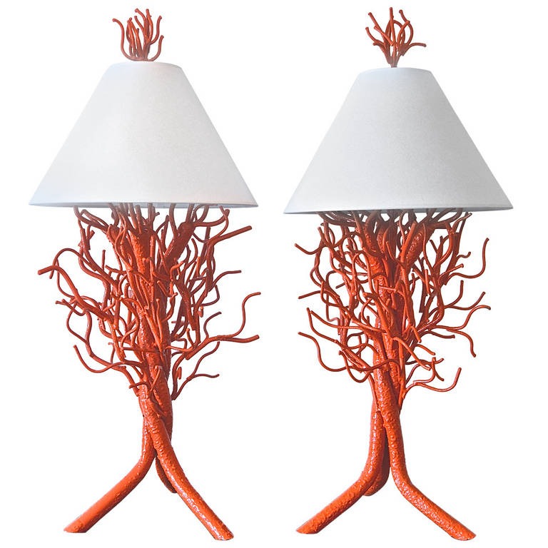 Pair of Monumental Custom Coral Fer Forge Lamps $6,500