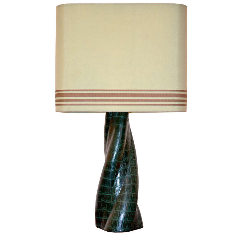 "French Alligator Skin Clad ""Twist"" Table Lamp with Custom Shade $1,750"