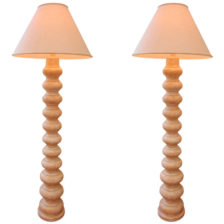 Frances Elkins  Pair of Craquelaire Floor Lamps $10,500