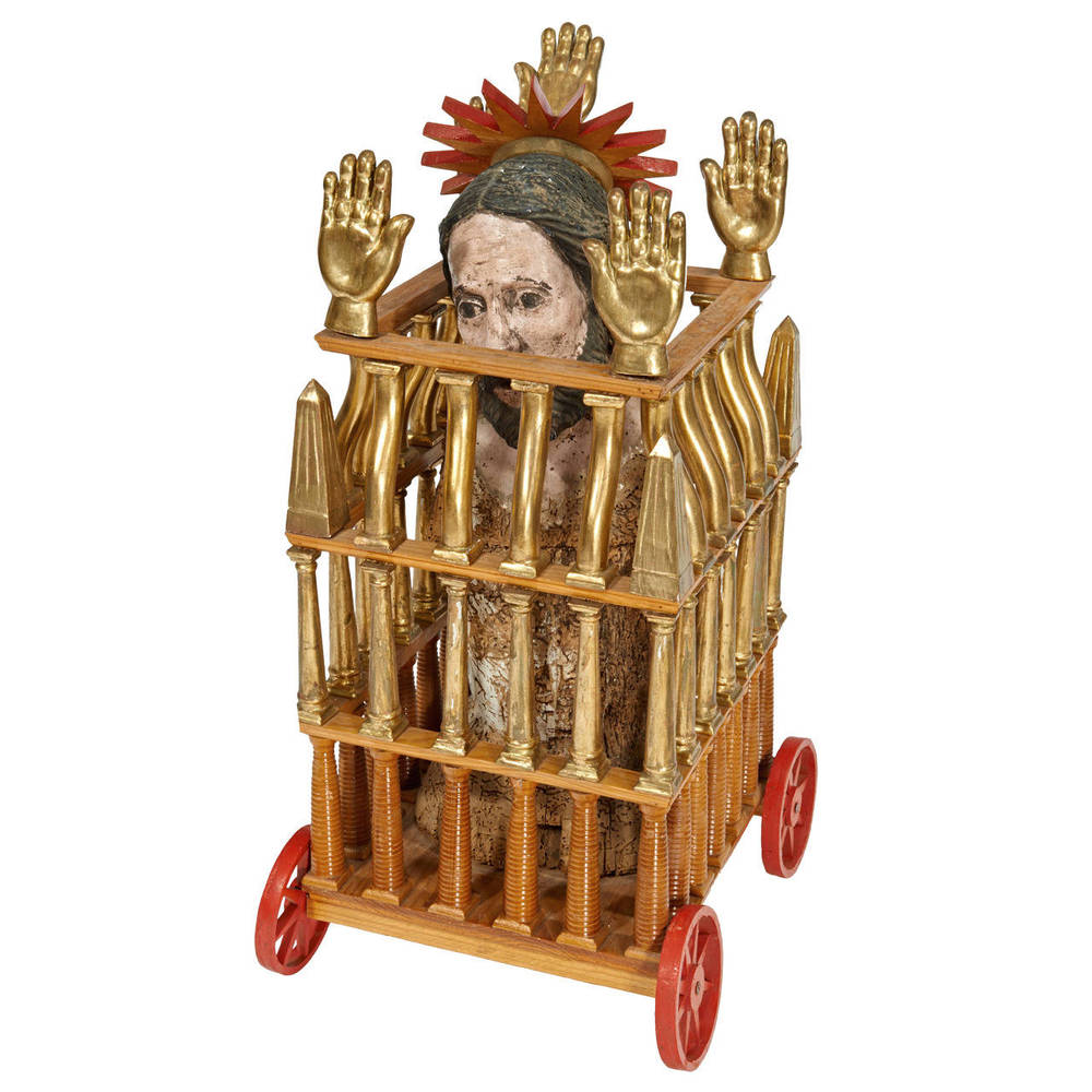 "Pedro Friedeberg  ""Caged Saint"" Sculpture $12,500"