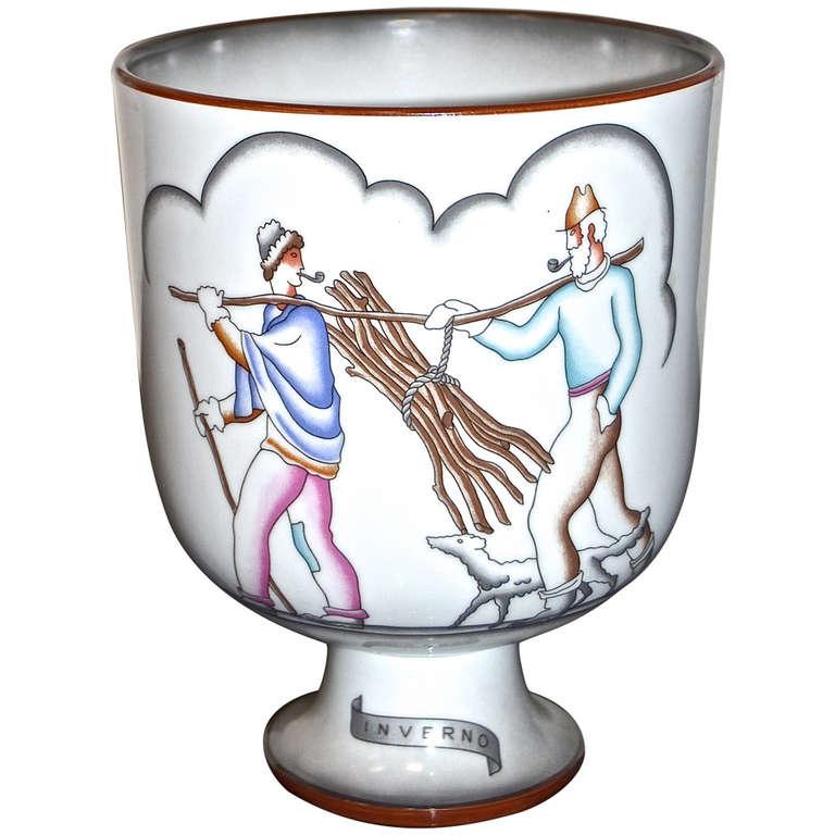 """Gio Ponti  """"Inverno"""" Ceramic Vase $3,000"""