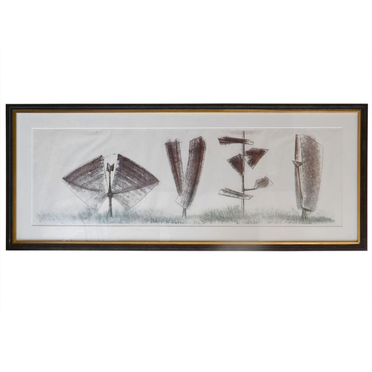 "Harry Bertoia  Monotype-""4 Sculptures"" $5,500"