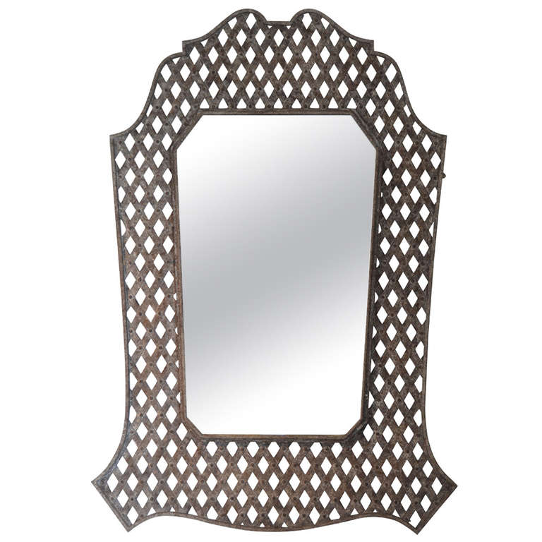 French Massive Lattice Wall Mirror $9,500