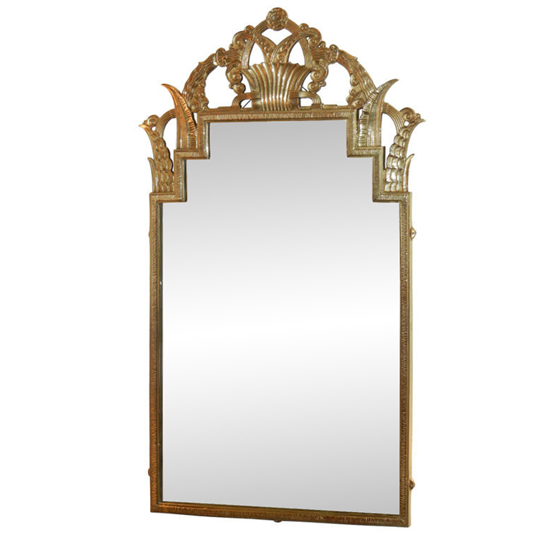 Marcel Bergue  Rare Art Deco Bronze Wall Mirror $15,000