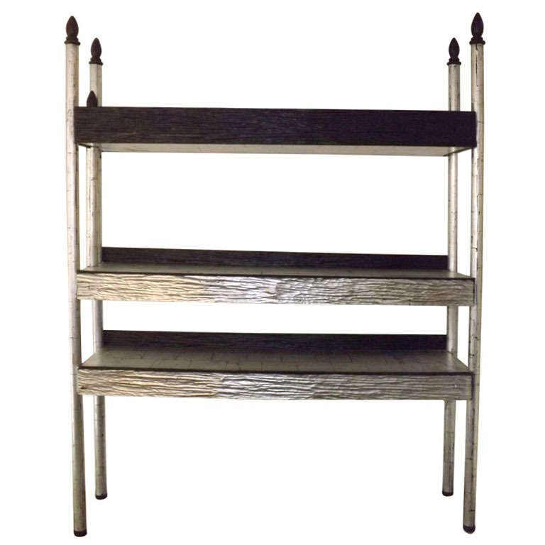 Phillip Lloyd Powell  Etagere in Silver Leaf $22,500