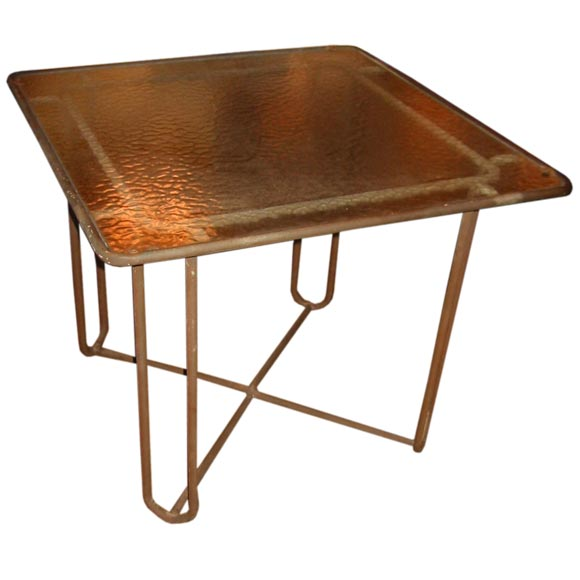 Walter Lamb   Bronze Dining Table with Original Glass Top $6,500