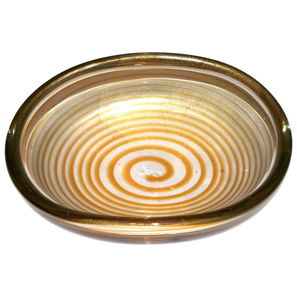"Archimede Seguso  ""Spirale"" Centerpiece with Gold Inclusion POR"
