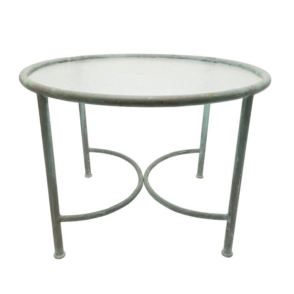 Walter Lamb  Bronze & Glass Circle Side Table POR