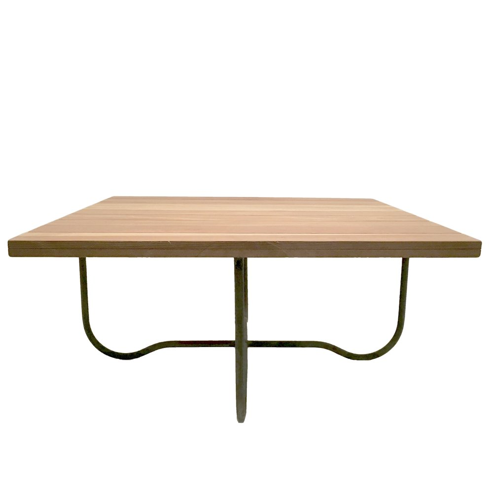 Walter Lamb  Bronze Square Cocktail Table with wood top POR