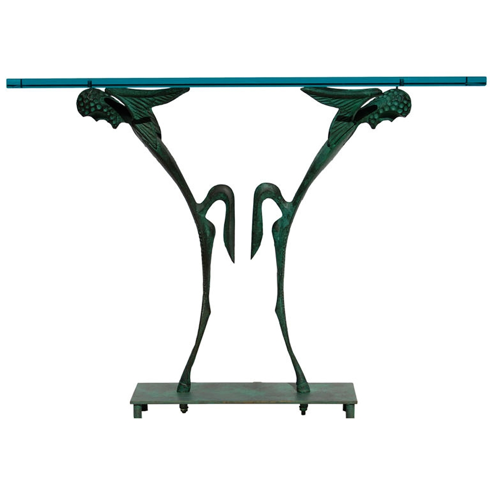 "Dan Johnson  Bronze & Glass ""Satyr"" Console $45,000"