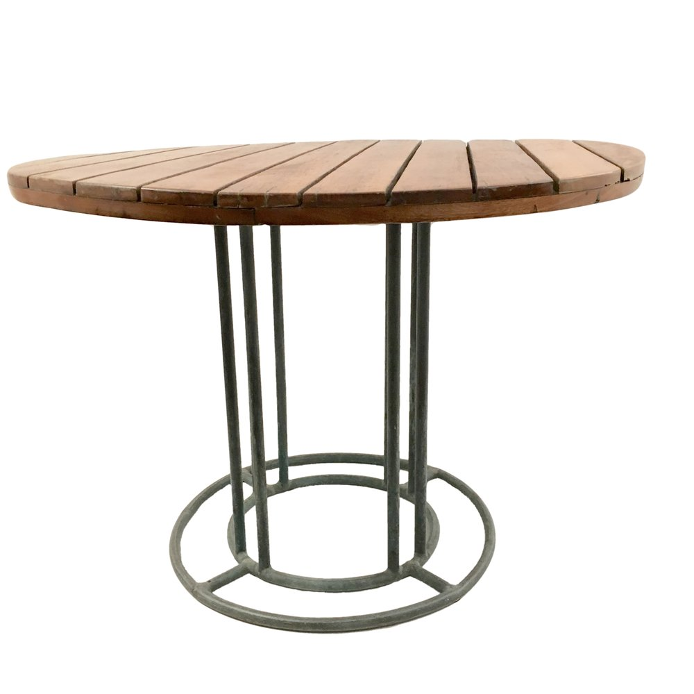 Walter Lamb  Round Bronze and Wood Dining Table POR