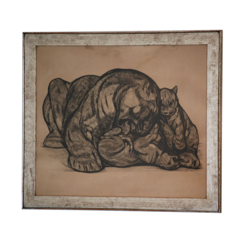 "Paul Jouve  ""Mother with Cubs"" Signed Etching $7,500"