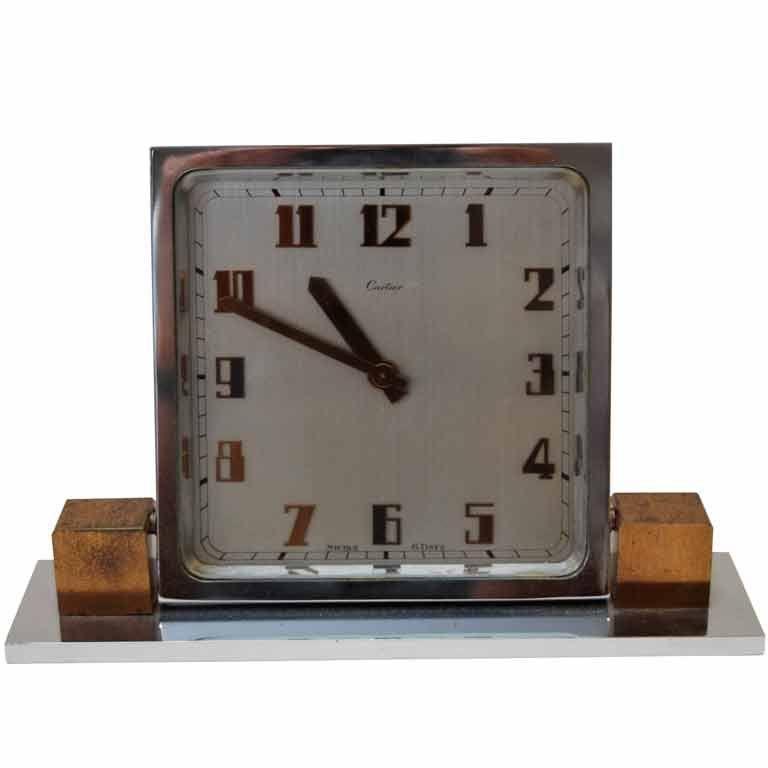 Cartier  Art Deco Chrome & Copper Table Clock $3,000