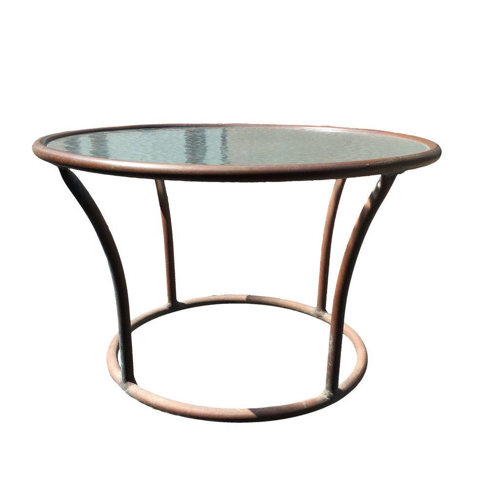 Walter Lamb  Rare Small Bronze & Glass Circle Side Table $3,500