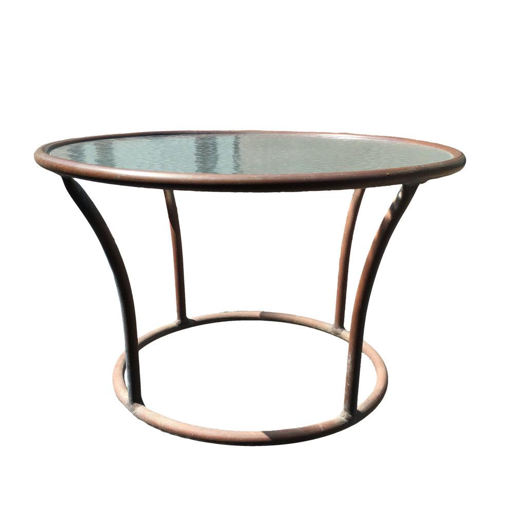 Walter Lamb  Rare Small Bronze & Glass Circle Side Table $3,500