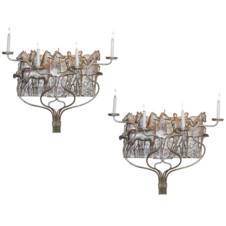 Michael Taylor  Pair of Silver Leaf Sconces $7,500