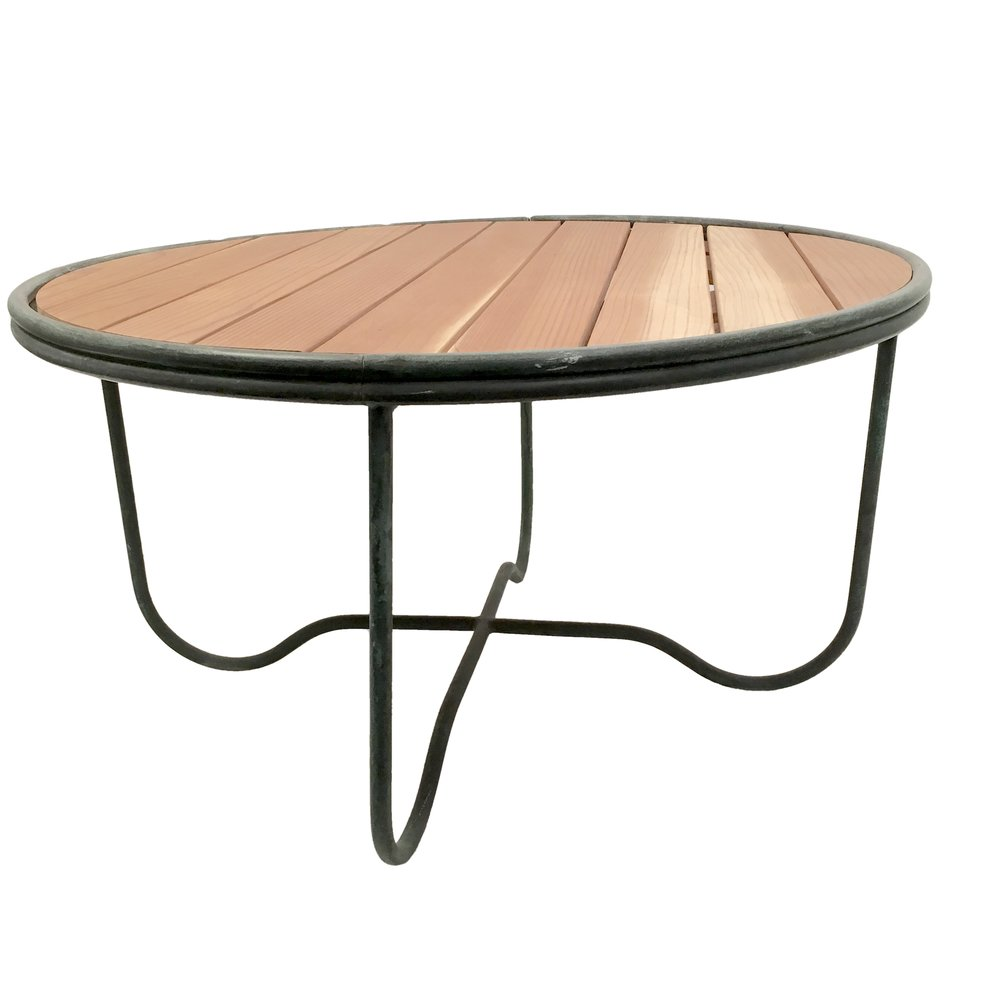 Walter Lamb  Bronze and Wood Round Cocktail Table POR