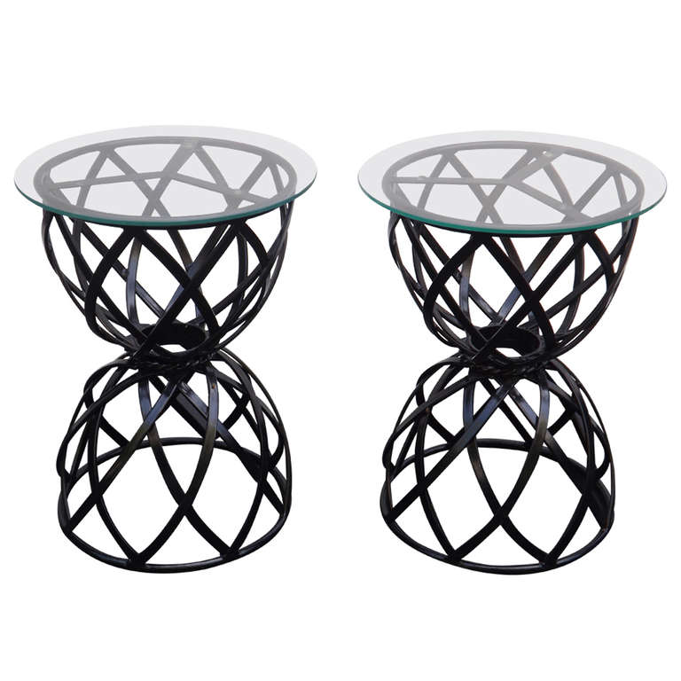 John Good  Pair of Glass Top Iron Side Tables $2,800