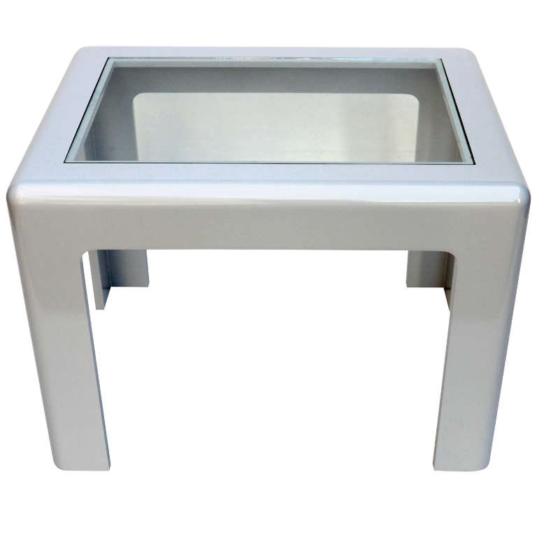 John Dickinson  Grey Lacquer & Glass Side Table $3,900