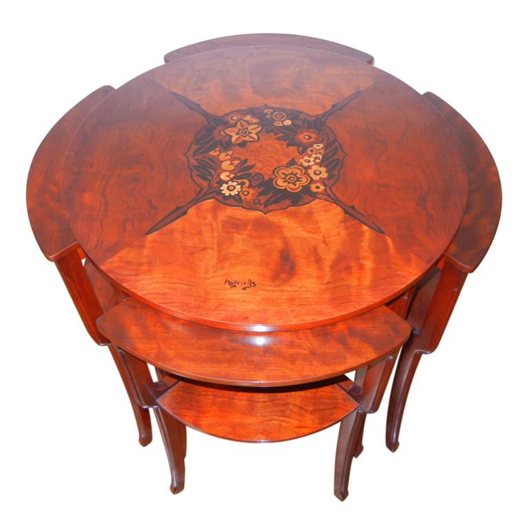 Louis Majorelle  Marquetry Art Nouveau Tables $24,000