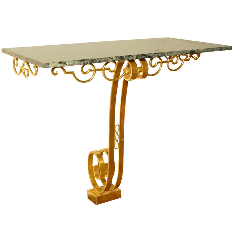 Rene Prou  Gold Gilded Steel & Green Marble Wall Console $18,000