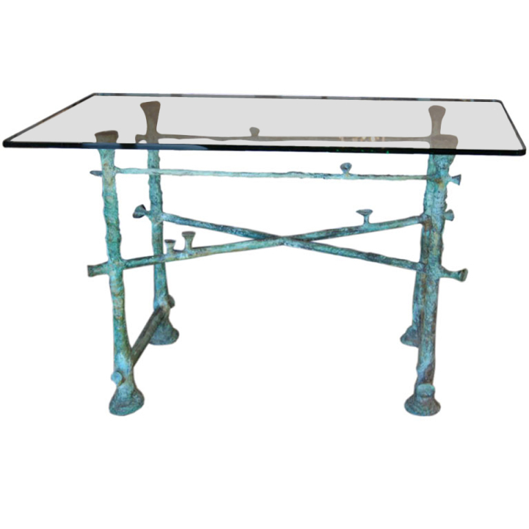 Ilana Goor  Unique Bronze & Glass Console $27,500