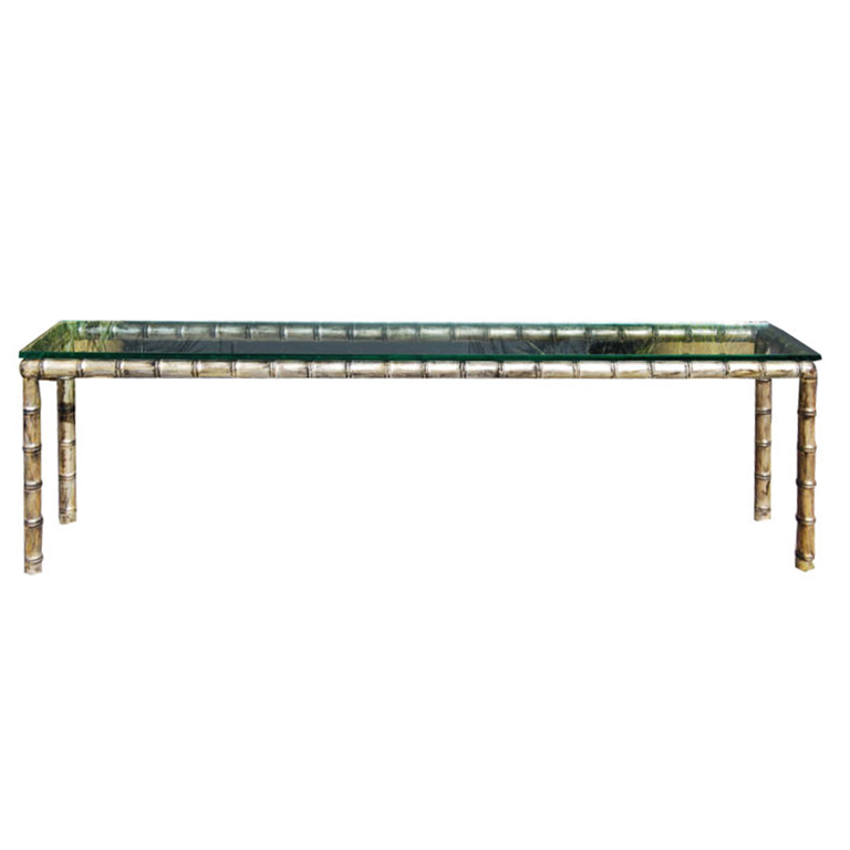 James Mont  Custom Bamboo Gold & Silver Leaf Console Table $11,500