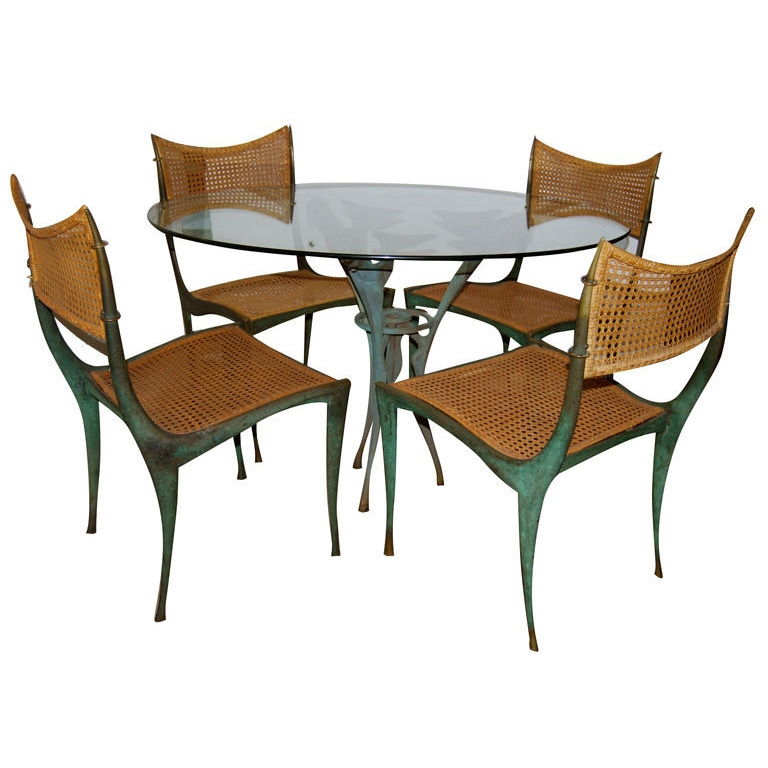 "Dan Johnson  Bronze ""Satyr"" Table and Four ""Gazelle"" Chairs $120,000"