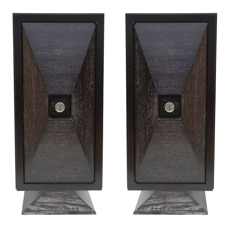 James Mont  Pair of Faceted Front Cabinets $8,500