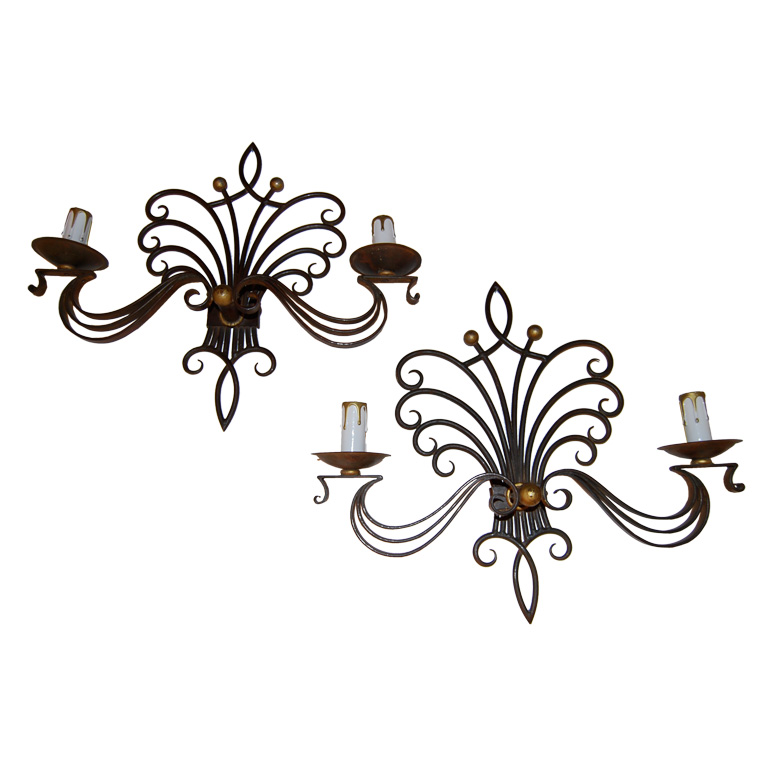 Fanciful French Sconces in the Style of Poillerat $3,500