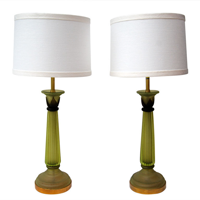 Cenedese Green Corroso Glass Column Lamps $5,500