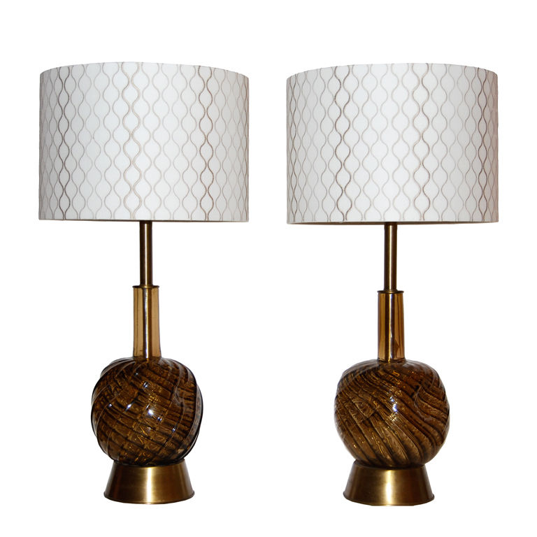 Segues  Glass Pair of Table Lamps with Custom Shades $6,500