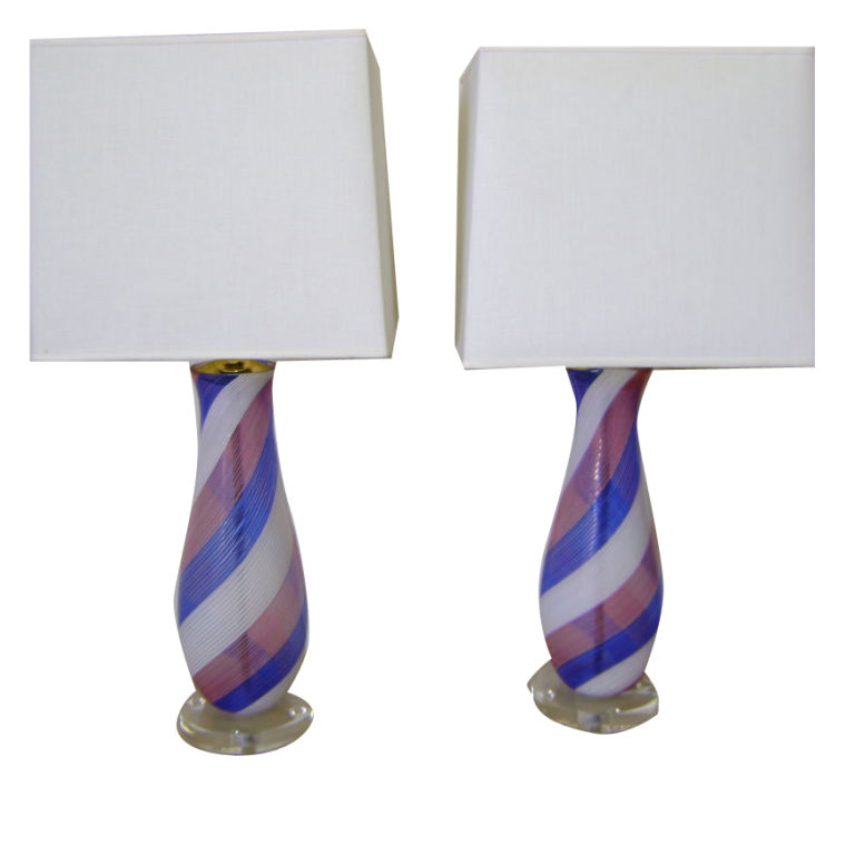Dino Martens   Pair of    Aureliano Toso Pink and Blue Lamps $3,500