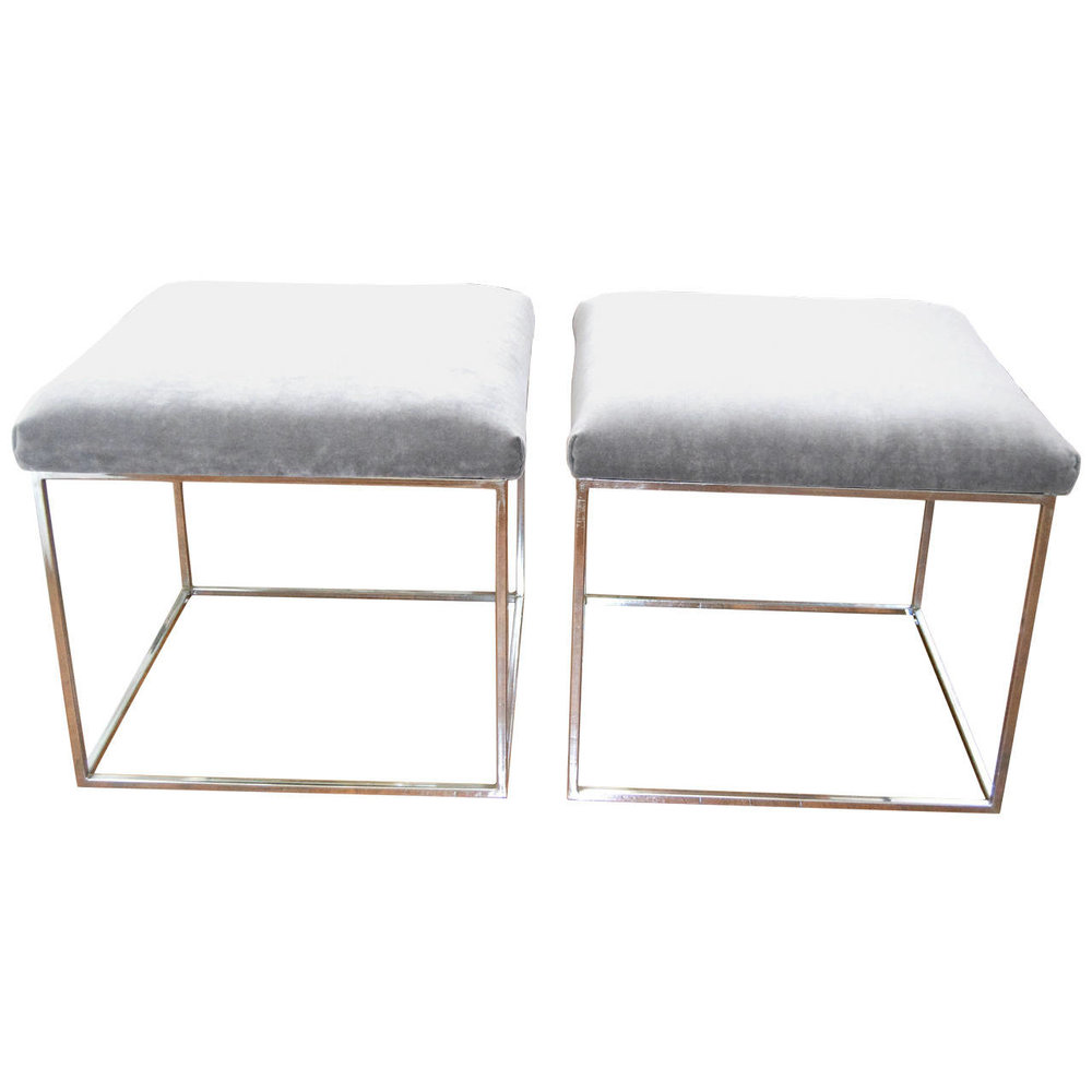 "Milo Baughman  Pair of ""Thin Line"" Chrome Stools $4,000"