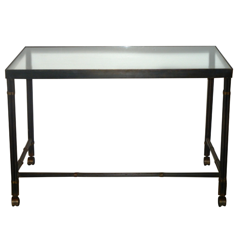Alberto Orlandi  Glass Top Desk in Steel with Brass Accents $6,500