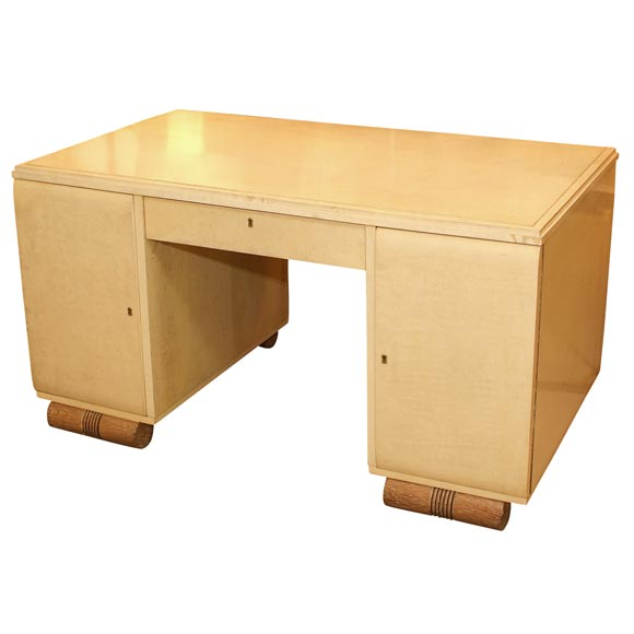 Parchment Clad Pedestal Desk With Cerused Pedestals $25,000
