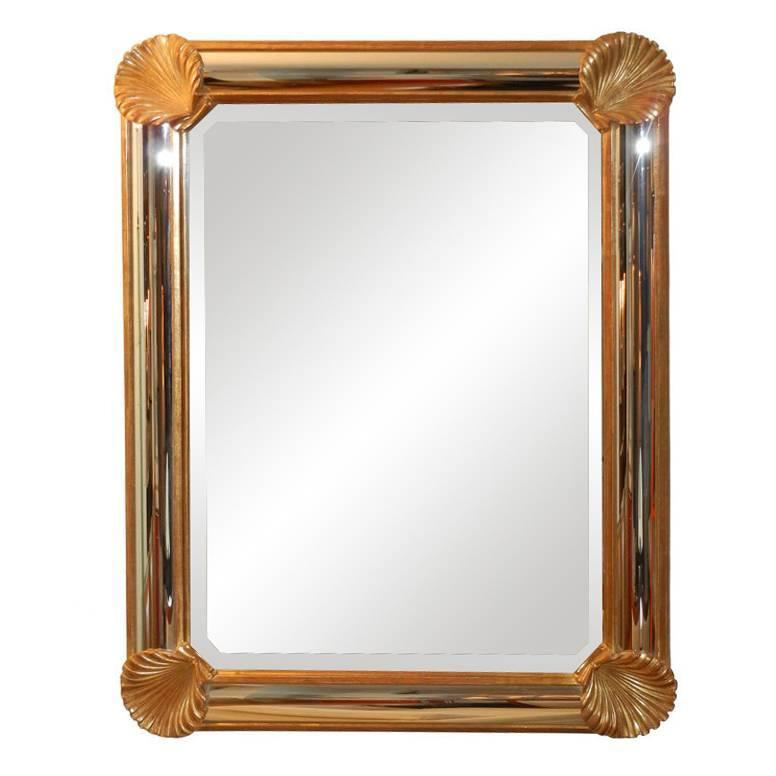 French Gilded Wall Mirror with Shell Corners $5,500