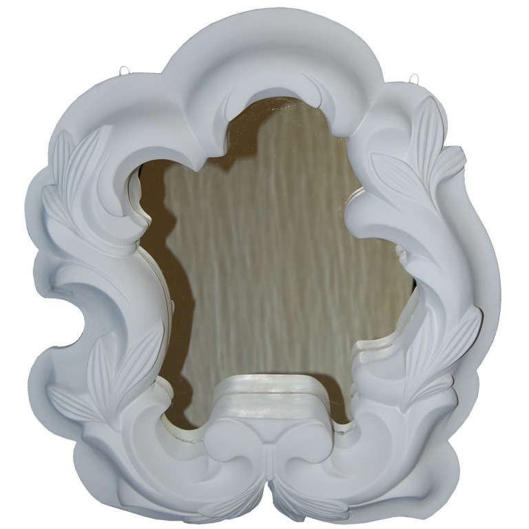French  Serge Roche Style 1940s Plaster Mirror $6,500