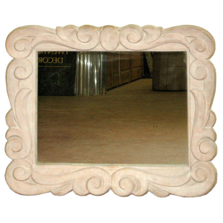 French 1940s Serge Roche Style Plaster Wall Mirror $8,500